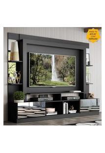 "Rack Estante C/ Painel Tv 65"" E Espelho Oslo Multimóveis Preto/Tenerife"