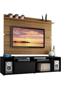 Rack Madesa Cancun E Painel Para Tv Até 65 Polegadas - Preto/Rustic Preto
