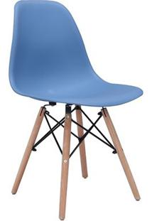 Cadeira Eames Eiffel Rivatti Sem Braço Pp Base Madeira Azul Bali