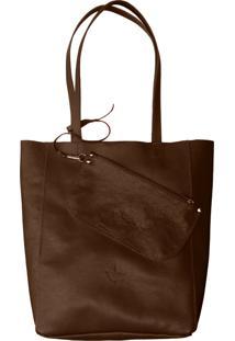 Bolsa Line Store Leather Sacola Shopper N1 Couro Marrom Escuro. - Marrom - Feminino - Dafiti