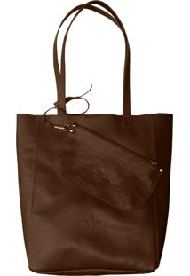 Bolsa Line Store Sacola Shopper N1 Couro Marrom Escuro.
