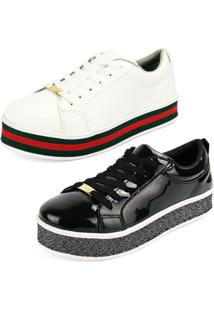 Kit Tênis Cr Shoes Sola Alta Preto Branco