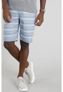 Bermuda Masculina Listrada Com Bolsos Azul
