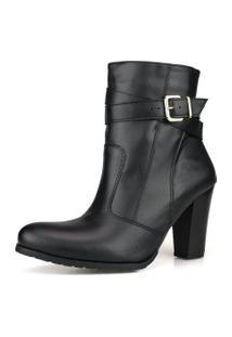 Bota Ankle Boot Dhatz Cano Medio Náo Possui Cadarço Preta