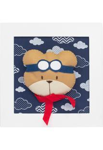 Quadro Decorativo Urso Aviador Quarto Bebê Infantil Menino