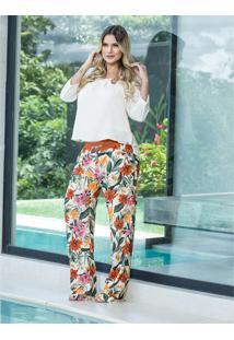 Calça A Gestante Estampa Pijama Multicolorido Bege