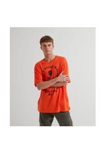 Camiseta Com Estampa Rosa | Blue Steel | Laranja | M