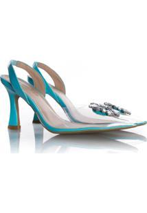Sapato Scarpin Cinderela Salto Fino Com Vinil Azul Claro - Azul - Feminino - Dafiti