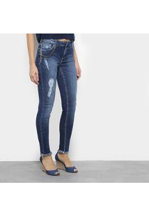 ac7fc4dffa ... Calça Jeans Skinny Morena Rosa Com Corrente Feminina - Feminino-Jeans