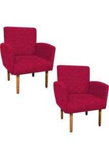 Kit 02 Poltronas Decorativa Veronãªs Para Sala E Recepã§Ã£O Suede Vermelho - D'Rossi - Vermelho - Dafiti
