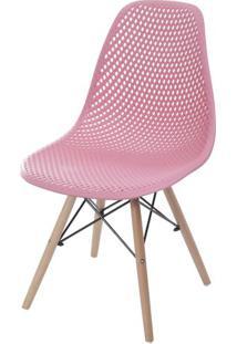 Cadeira Eames Furadinha Cor Rosa Com Base Madeira - 55985 Sun House