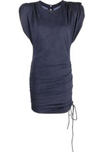Isabel Marant Vestido Franzido Com Decote Posterior - Azul
