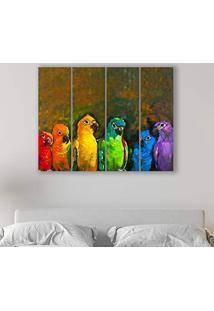 Placa Painel Decorativa Em Mdf Foto Papagaios Kit 4 Placas