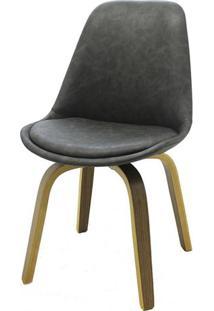 Cadeira Lis Eames Revestida Pu Cinza Base Madeira Mescla - 53303 Sun House