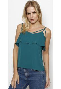 Blusa Com Tiras & Recorte Sobreposto - Verde Escuro Moisele
