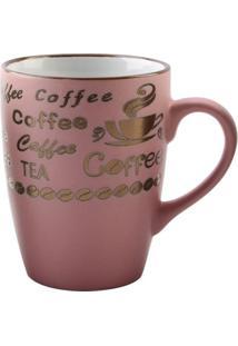 "Caneca Vintage Letters ""Coffee""- Rosa Claro & Marrom Clarojemac"