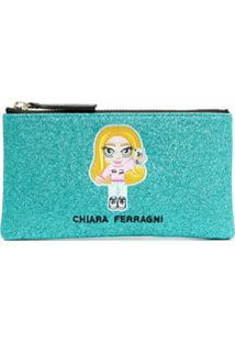 Chiara Ferragni Necessaire Com Brilho E Logo Bordado - Azul
