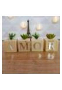 Cubo Decorativo Com Suculenta E Letras Em Acrílico Amor Único