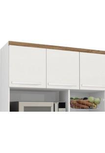Armário De Cozinha Samanta 1,36M Branco Brilho Com Canelato Trinobél Móveis