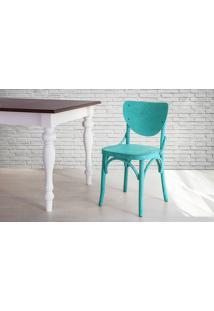 Cadeira Anatômica De Madeira Torneada Azul Eléonore - 44X49,5X82,5 Cm