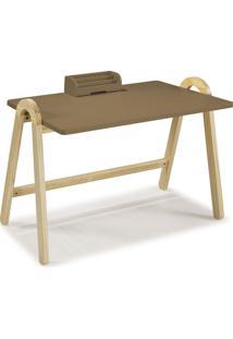 Mesa Escrivaninha Com Porta Objetos Ringo 1031 Natural/Marrom Médio - Maxima