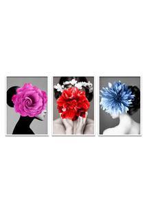Quadro 60X120Cm Eyra Mulher Com Flores Moldura Branca Sem Vidro