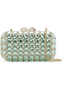 Isla Clutch Com Maxi Cristais - Green