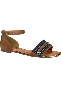 bd73b7b7f6 Marisa. Sandália Moderna Dakota Metalizada Caramelo Franja Rasteira Z2463