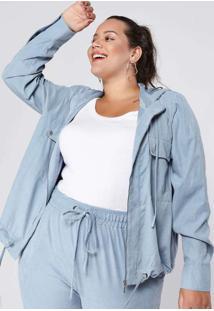 Jaqueta Almaria Plus Size Tal Qual Capuz Azul