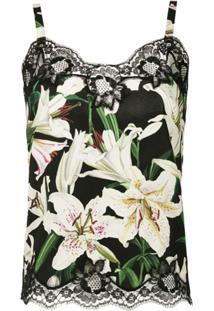 Dolce & Gabbana Underwear Blusa De Seda Com Renda Estamapda - Preto
