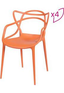 Or Design Jogo De Cadeiras De Jantar Solna Laranja 4Pã§S