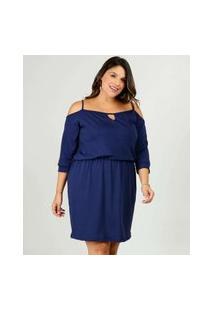 Vestido Plus Size Feminino Open Shoulder Manga 7/8