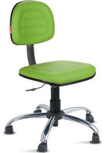 Cadeira Secretária Costura Cromada Courvin Verde Limão