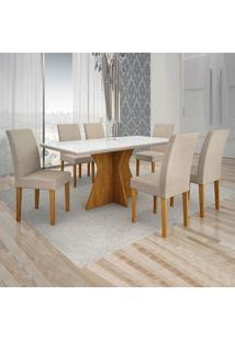 Conjunto De Mesa De Jantar Creta Com 6 Cadeiras Olímpia Veludo Branco E Palha