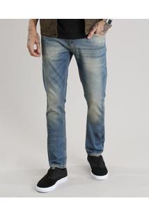 Calça Jeans Masculina Slim Com Algodão + Sustentável Azul Médio
