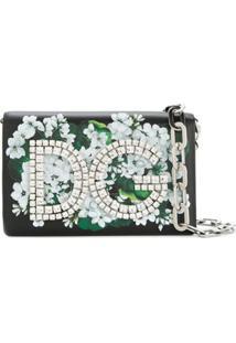 Dolce & Gabbana Clutch 'Dg Girls' Estampada De Couro - Preto