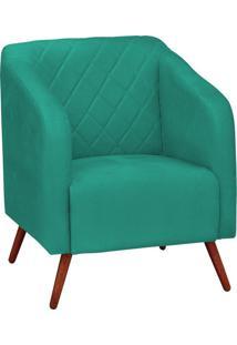Poltrona Decorativa Silmara Suede Verde Tiffany Pés Palito Condor Drossi