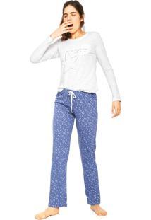 Pijama Cor Com Amor Stars Cinza/Azul