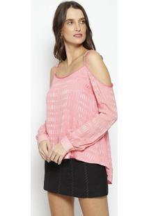 Blusa Geométrica Em Seda- Rosa Clarobobstore