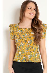 Blusa Peplum Floral Mostarda Moda Evangélica