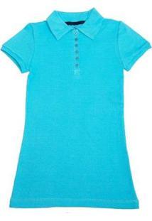 Camisa Polo Via Costeira Em Algodão Feminina - Feminino-Azul Claro