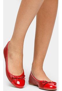 Sapatilha Couro Shoestock Recortes Feminina - Feminino-Vermelho