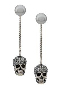 Alexander Mcqueen Skull Embellished Drop Earrings - Prateado