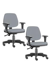 Kit 02 Cadeiras Giratórias Lyam Decor Job Corino Cinza