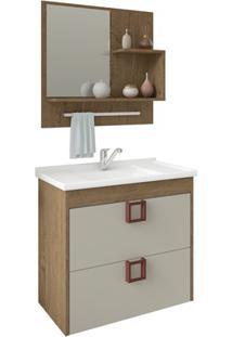 Gabinete Suspenso Para Banheiro Lírio Com Espelho 59X35,5Cm Carvalho E Off-White