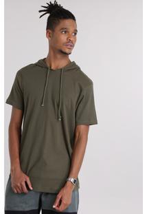 Camiseta Texturizada Com Capuz Verde Militar
