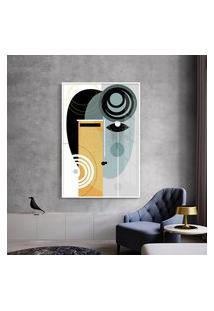 Quadro 75X50Cm Abstrato Geométrico Oriental Geisha Moldura Branca Com Vidro
