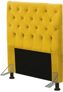 Cabeceira Cama Box Solteiro 90Cm Cristal Suede Amarelo - Js Móveis