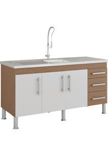 Gabinete Para Cozinha Flex 80X144Cm Amêndoa E Branco