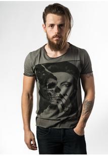 Camiseta Estonada Skull Lab Skull Face - Masculino-Grafite